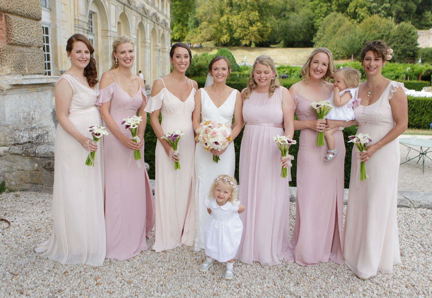 chateau wedding French countryside French wedding Bridal party flower girl