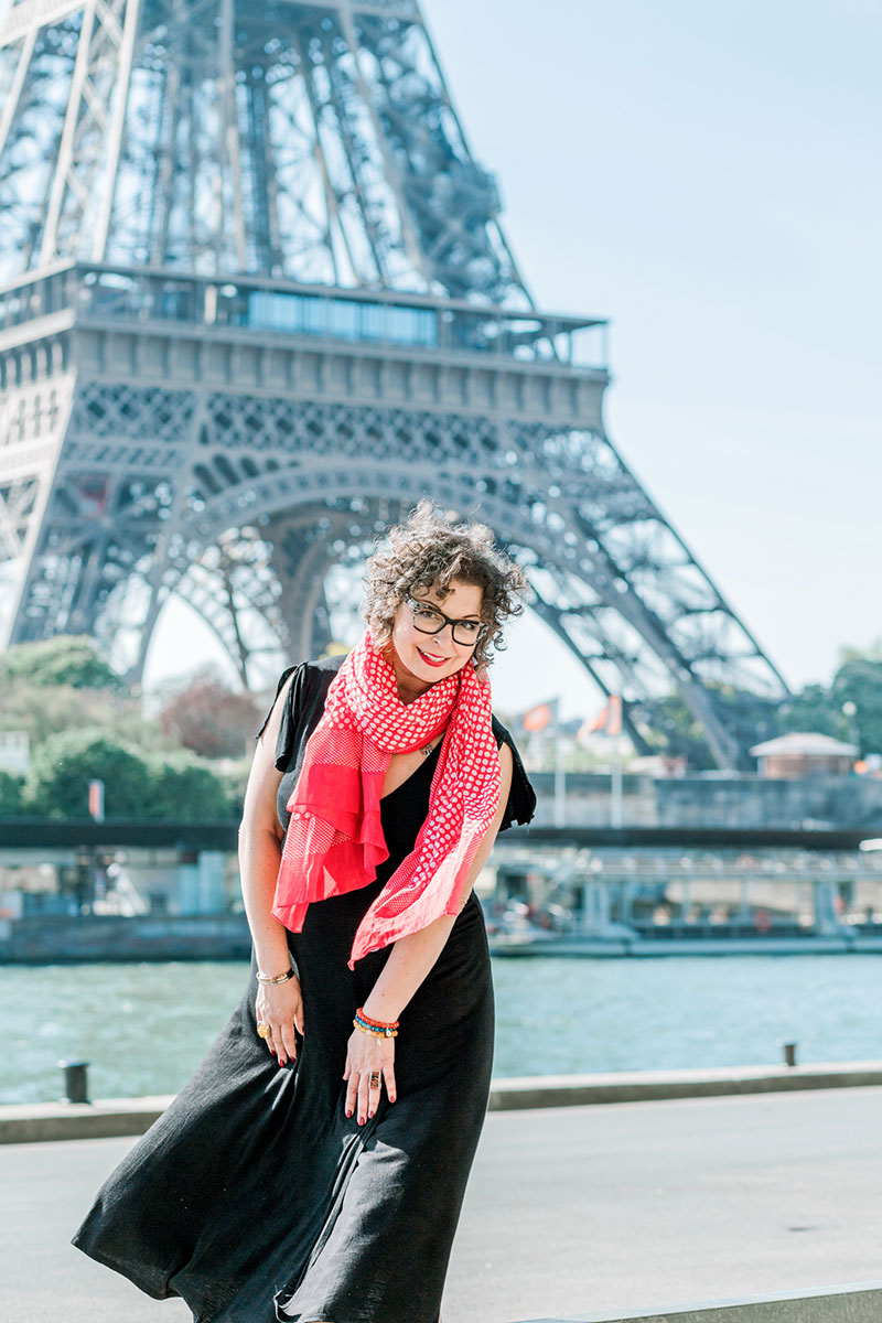 Betsy McCue photographed by Rachael Laporte under the Eiffel Tower Paris