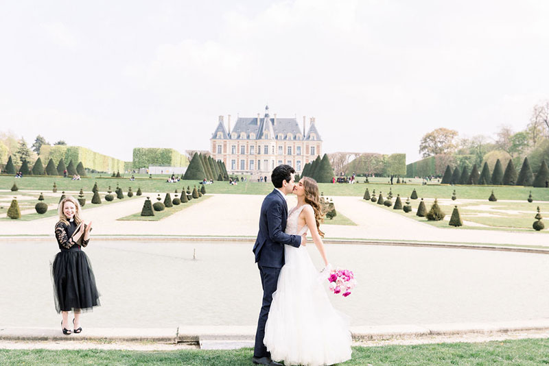 Elegant chateau wedding French countryside Bridal makeup Destination wedding Paris elopement intimate ceremony