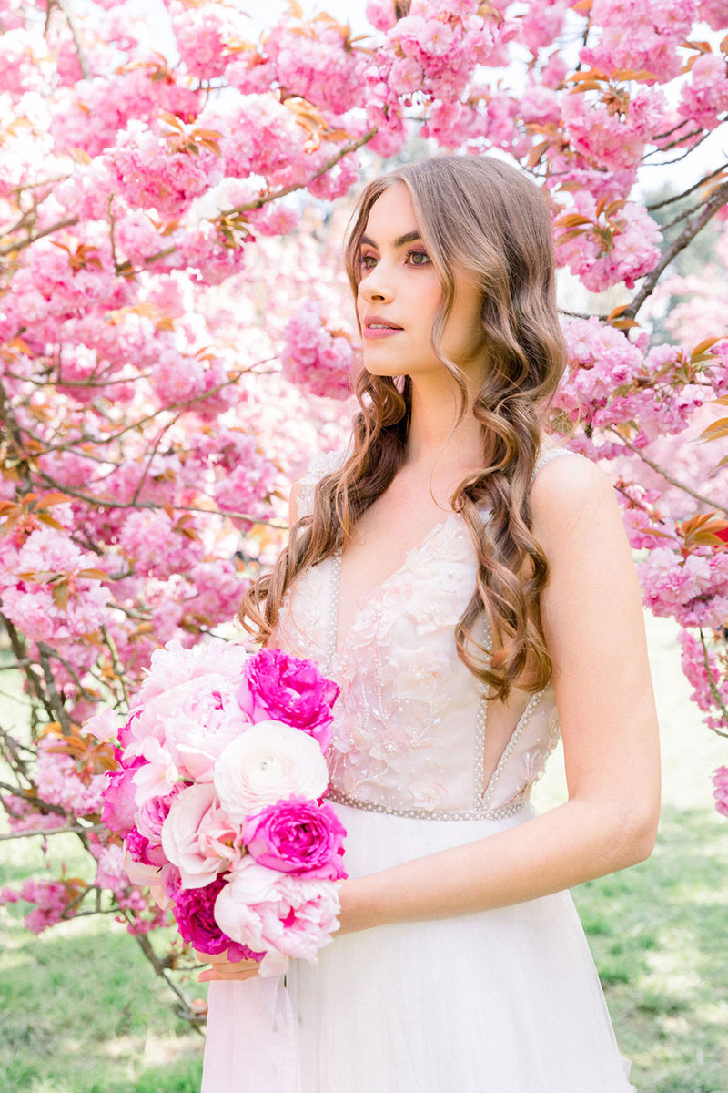 Elegant chateau wedding French countryside Bridal makeup Destination wedding Paris elopement intimate ceremony cherry blossoms