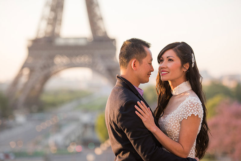 Hieu & Chau photographed by The Parisian Photographers couples photo shoot in Paris engagement session by Eiffel Tower