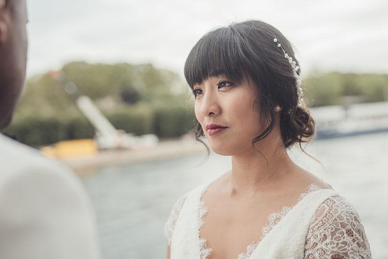 Paris Elopement intimate wedding Paris Eiffel Tower Asian makeup