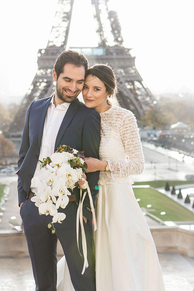 Destination wedding pregnant bride beautiful French wedding Paris Eiffel Tower