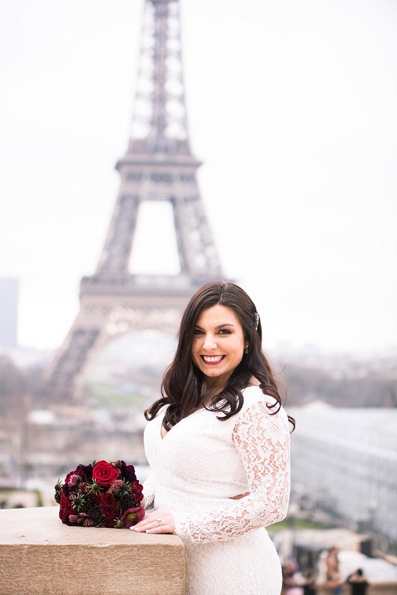 Paris elopement Paris Eiffel Tower Bridal hair Bridal Makeup Paris