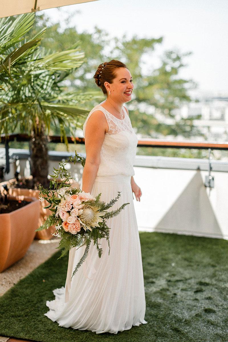 French bride Parisian wedding Glowing bride